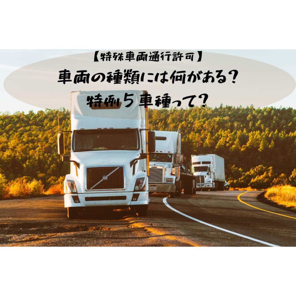 【特殊車両通行許可】車両の種類には何がある?特例5車種って?